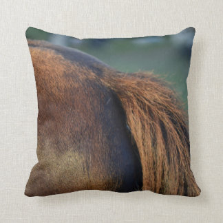 Brown pony hindquarters and tail throw pillow
