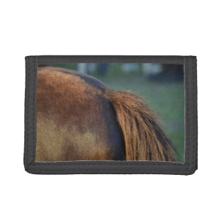 Brown pony hindquarters and tail trifold wallet