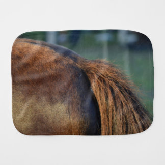 Brown pony hindquarters and tail baby burp cloth