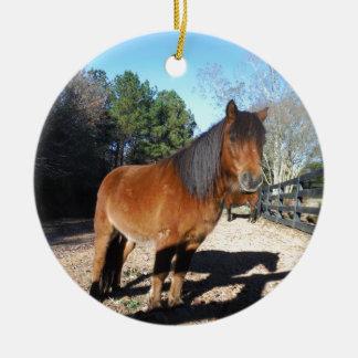 Brown pony turquoise Sky Ceramic Ornament