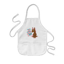 Brown Pony with Flowers and Butterflies Apron