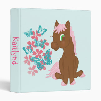 Brown Pony with Flowers and Butterflies Binder