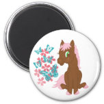Brown Pony with Flowers and Butterflies Magnet