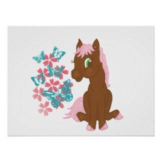 Brown Pony with Flowers and Butterflies Print