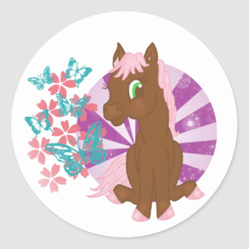 Brown Pony with Flowers and Butterflies Sticker