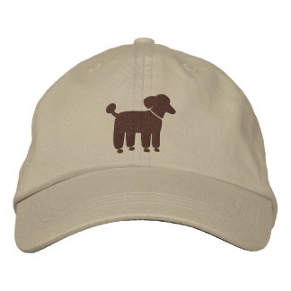 Brown Poodle Graphic Embroidered Baseball Cap