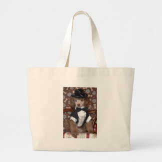 Brown Poodle Puppy in Suit Canvas Bag