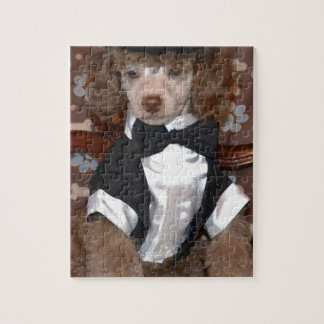 Brown Poodle Puppy in Suit Jigsaw Puzzles