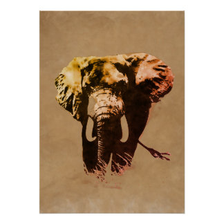 Brown Pop Art Elephant Ink Paint Poster