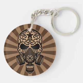 Brown Post Apocalyptic Sugar Skull Keychain