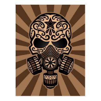 Brown Post Apocalyptic Sugar Skull Postcard