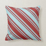 [ Thumbnail: Brown & Powder Blue Colored Pattern of Stripes Throw Pillow ]