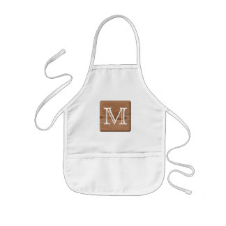 Brown Printed Pattern and Custom Letter. Kids' Apron
