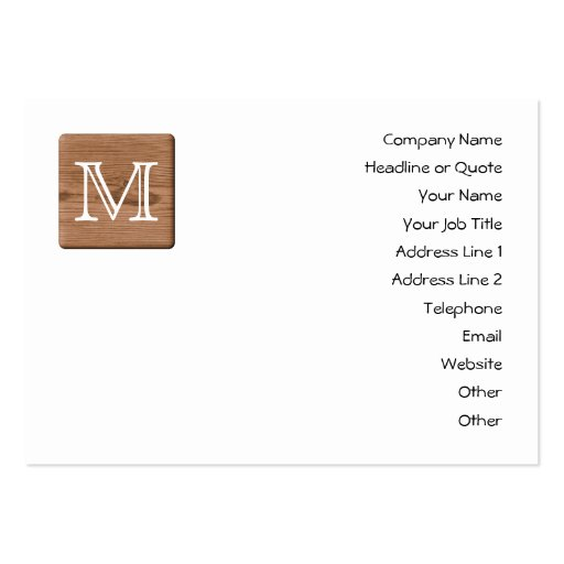Brown Printed Pattern and Custom Letter. Large Business Card