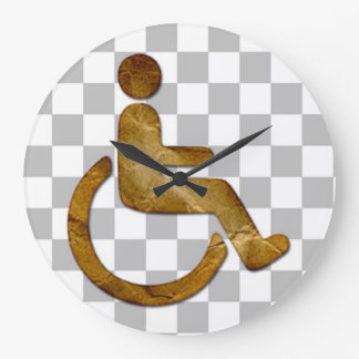 Brown Pro-Disable Icon - Round (Large) Wall Clock