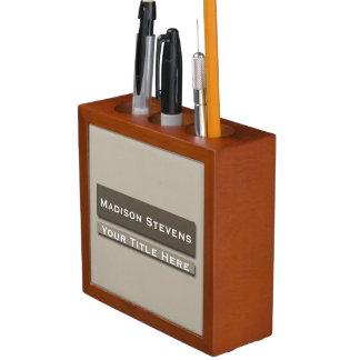 Brown Professional Plain Simple Desk Organizer
