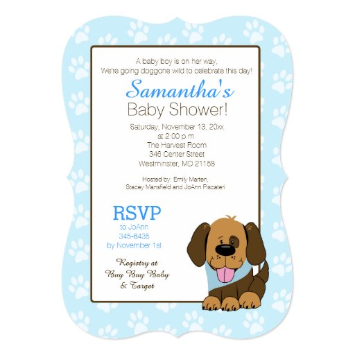 Brown Puppy Dog Baby Shower or Birthday Invitation