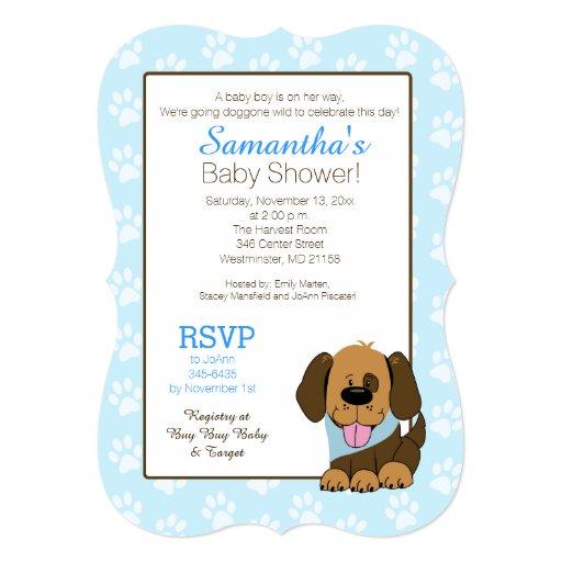 Brown Puppy Dog Baby Shower or Birthday Invitation