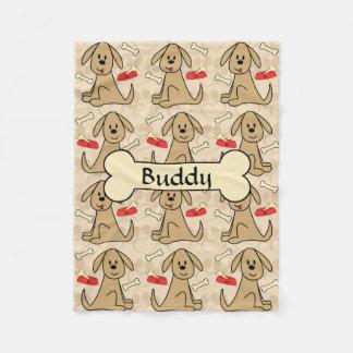 Brown Puppy Dog Design Personalize Fleece Blanket