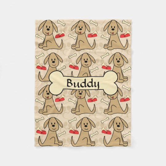 Brown Puppy Dog Design Personalize Fleece Blanket  58f3415e5