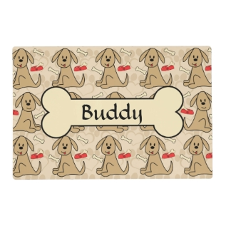 Brown Puppy Dog Design Personalize Placemat at Zazzle