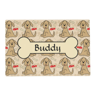 Brown Puppy Dog Design Personalize Placemat
