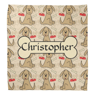 Brown Puppy Dog Graphic Design Personalize Bandana