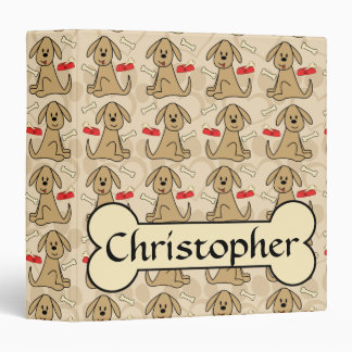 Brown Puppy Dog Graphic Design Personalize Binders