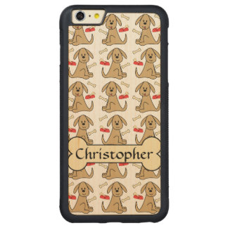 Brown Puppy Dog Graphic Design Personalize Carved Maple iPhone 6 Plus Bumper Case