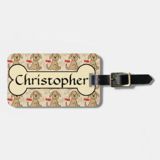 Brown Puppy Dog Graphic Design Personalize Luggage Tag