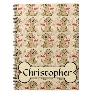 Brown Puppy Dog Graphic Design Personalize Spiral Note Books