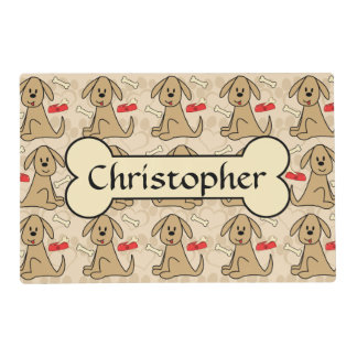 Brown Puppy Dog Graphic Design Personalize Placemat
