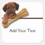 Brown Puppy Holding His Bone Sticker