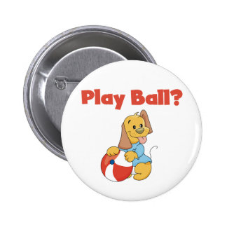 Brown Puppy With Ball Button