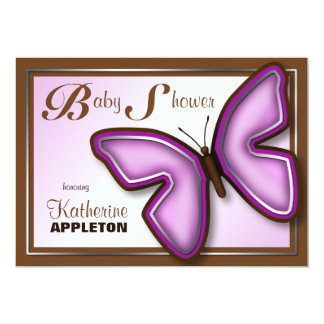 Brown & Purple Butterfly Baby Shower Invitations