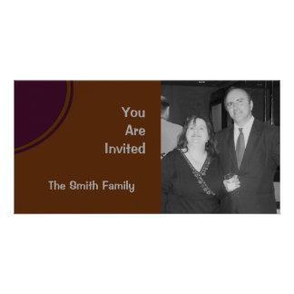 Brown Purple Modern Party Invite Custom Photo Card