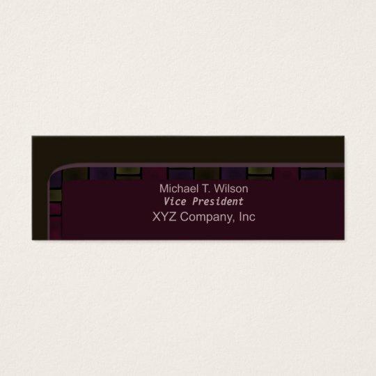 Brown Purple Tile Border Mini Business Card