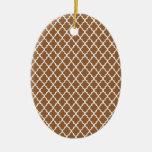 Brown Quatrefoil Ornamento Para Arbol De Navidad