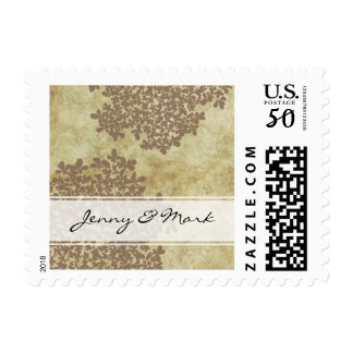 Brown Queen Ann's Lace Vintage Wedding Postage