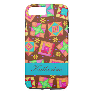 Brown Quilt Art Patchwork Blocks Name Personalized iPhone 7 Plus Case