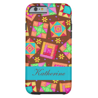 Brown Quilt Art Patchwork Blocks Name Personalized Tough iPhone 6 Case