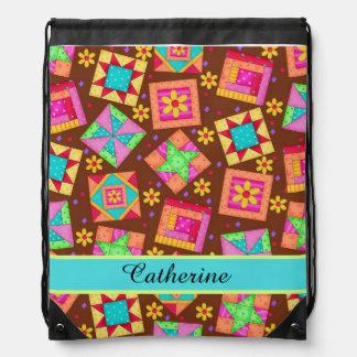 Brown Quilt Patchwork Block Art Name or Monogram Drawstring Backpack