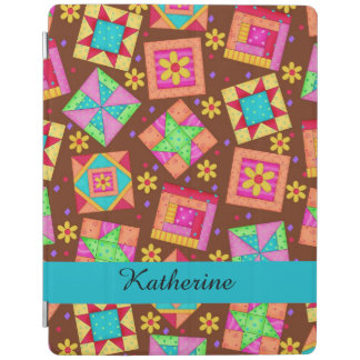Brown Quilt Patchwork Block Name Personalized iPad Cover