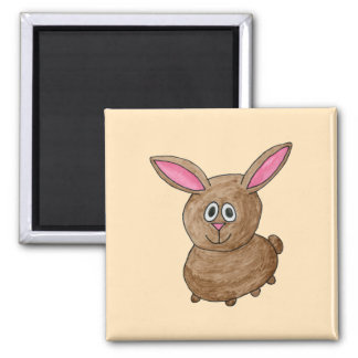 Brown Rabbit. 2 Inch Square Magnet
