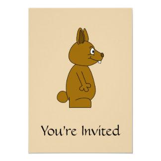 Brown Rabbit 5x7 Paper Invitation Card
