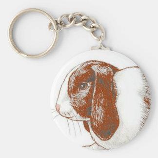 Brown Rabbit Basic Round Button Keychain