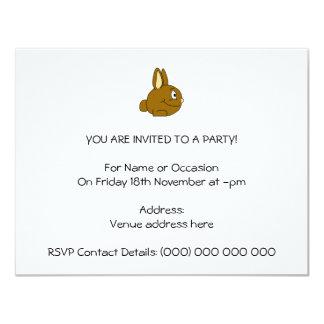 Brown Rabbit Cartoon 4.25x5.5 Paper Invitation Card