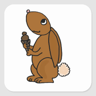 Brown Rabbit Eating Chocolate Ice Cream Square Sticker