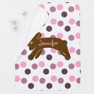 Brown Rabbit Girls Pink Polka Dots Swaddle Blanket