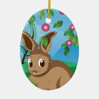 Brown Rabbit on Lawn Ceramic Ornament